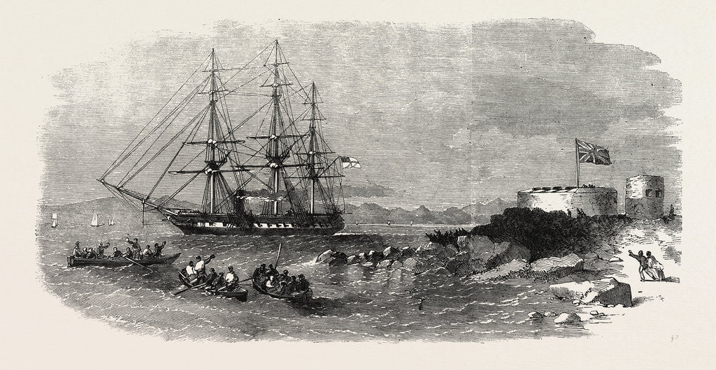 Detail of H.M.S. Euryalus, with Prince Alfred on Board, Entering Simon's Bay. 1860 by Anonymous