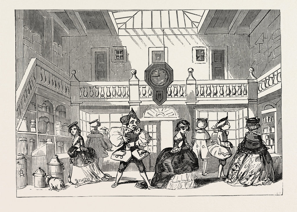 Detail of Christmas Pantomimes: Drury Lane. Scene from the Pantomime of Harlequin Hogarth by Anonymous