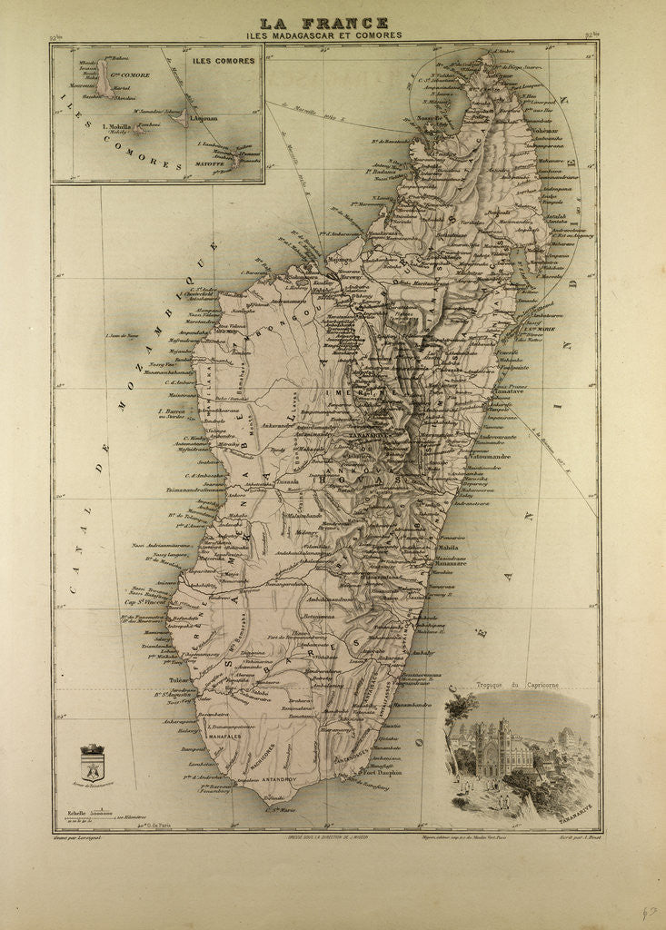 Detail of Map of Madagascar and Comoros 1896 by Anonymous