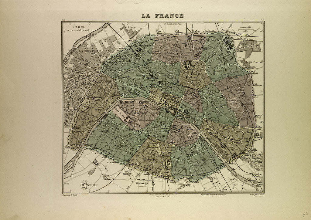 Detail of Map of Paris in by Anonymous