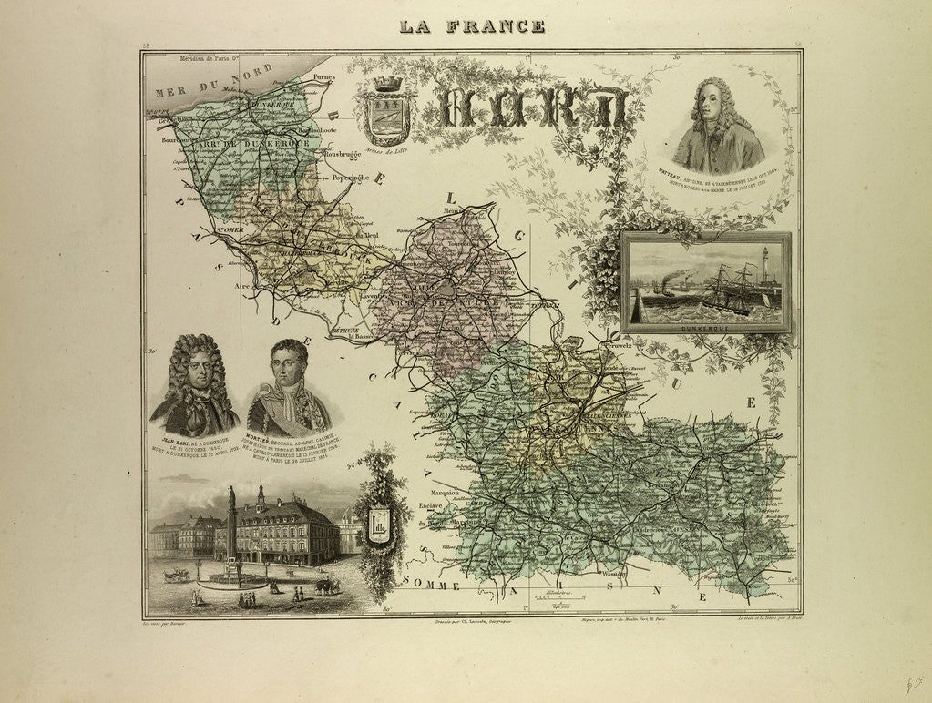 Detail of Map of the North West of France 1896 by Anonymous
