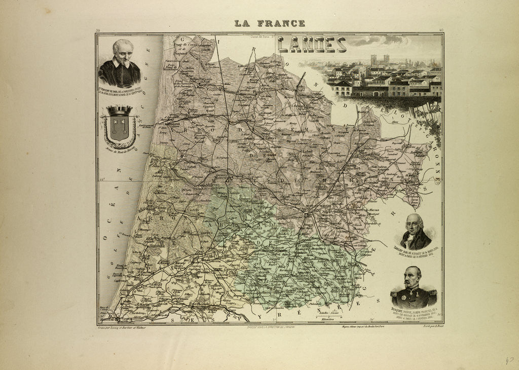 Detail of Map of Landes by Anonymous