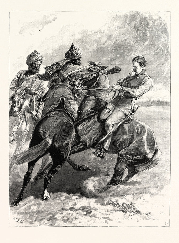 Detail of The Cavalry Manoeuvres at Attock India-Native Cavalry Stopping a Scout by Anonymous