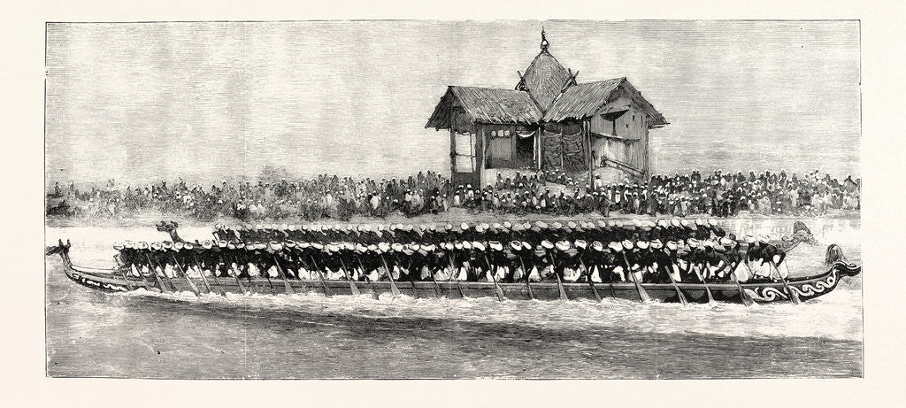 Detail of Manipur in Time of Peace: A Native Canoe-Race by Anonymous