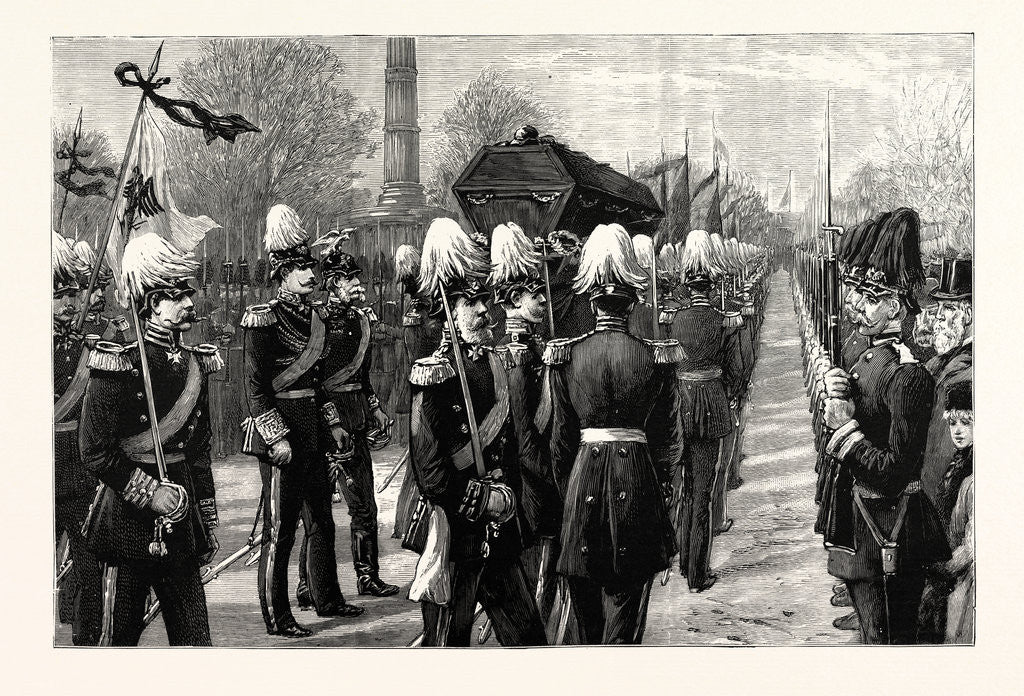 Detail of The Funeral of the Late Count Moltke: The Procession on Its Way to the Lehrter Railway Station Berlin Germany by Anonymous