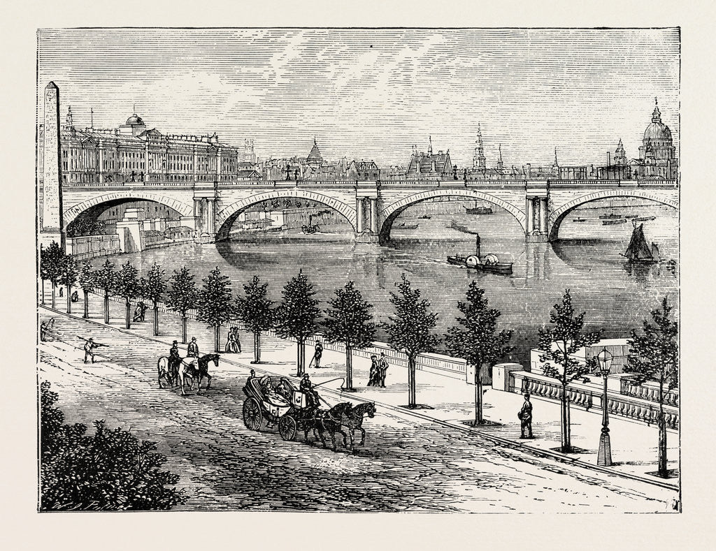 Detail of The Thames Embankment and Waterloo Bridge 1895 by Anonymous