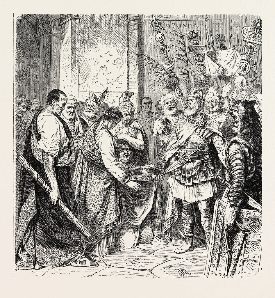 Detail of Augustulus the Last Roman Emperor Surrenders to Odoacer. by Anonymous