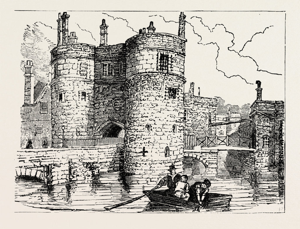 Detail of Moat and Entrance Tower of the Tower of London by Anonymous