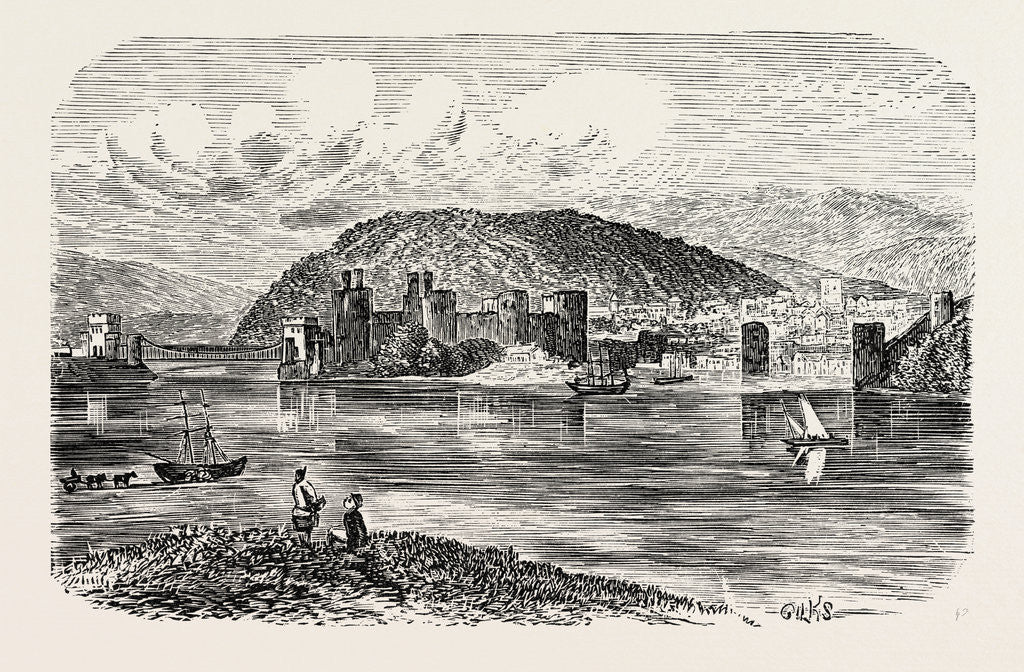 Detail of Conway Castle and Town. by Anonymous