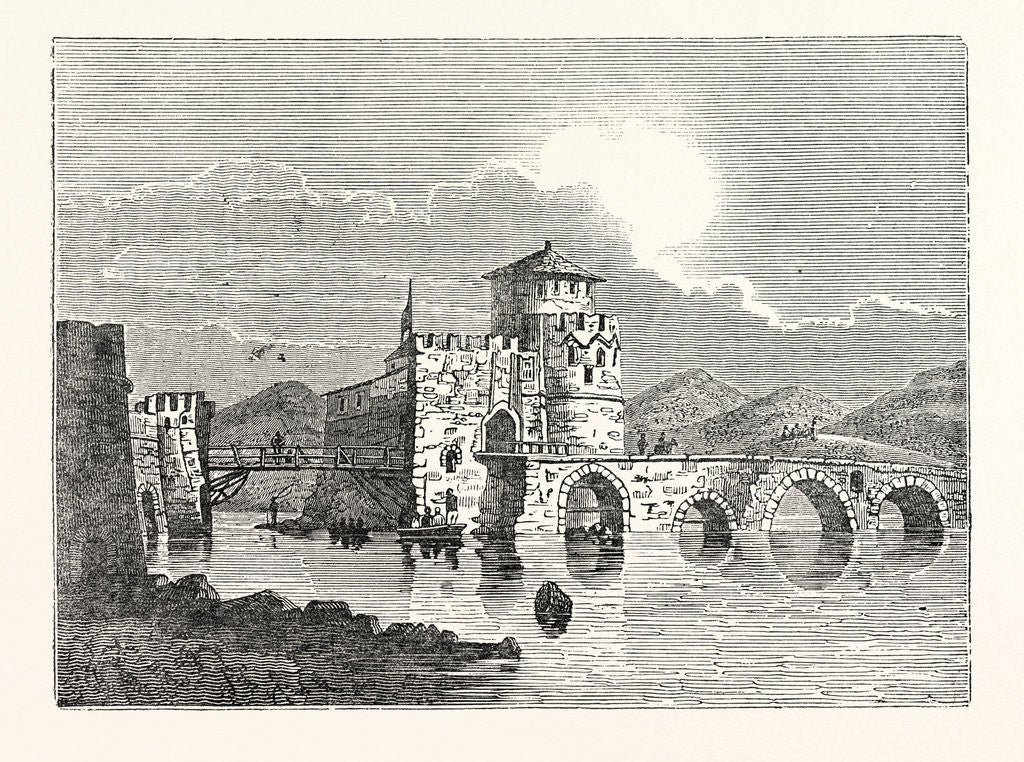 Detail of The Channel of the Euri'Pus and the Modern Town of E'Gripos: The Bridge of the Euripus by Anonymous