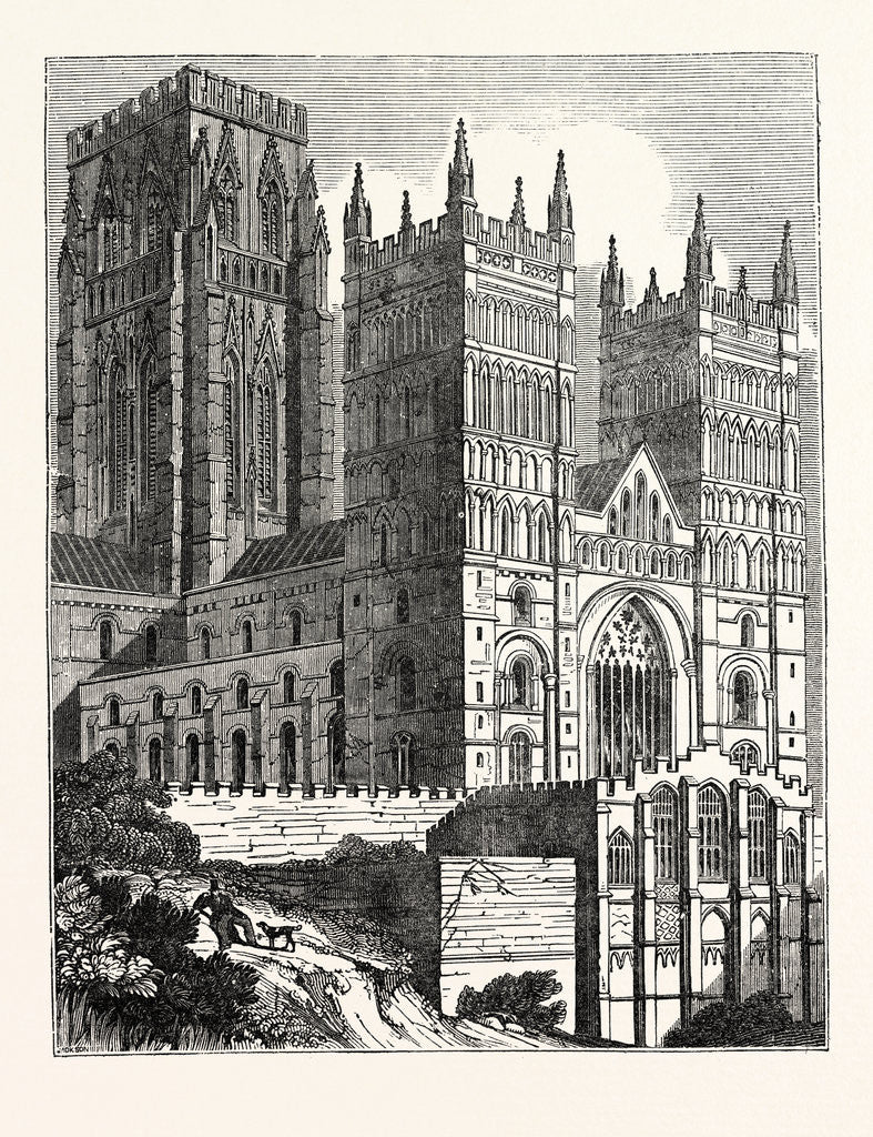 Detail of North-West View of Durham Cathedral by Anonymous