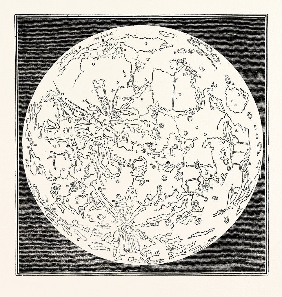 Detail of Map of the Moon 1833 by Anonymous