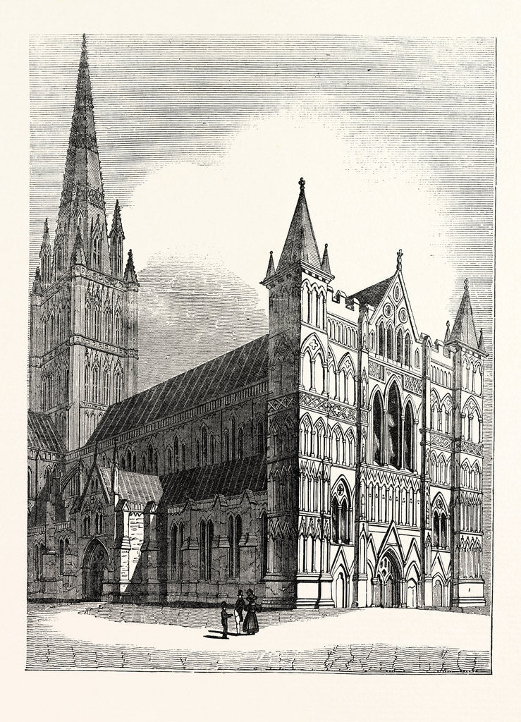 Detail of North-West View of Salisbury Cathedral by Anonymous