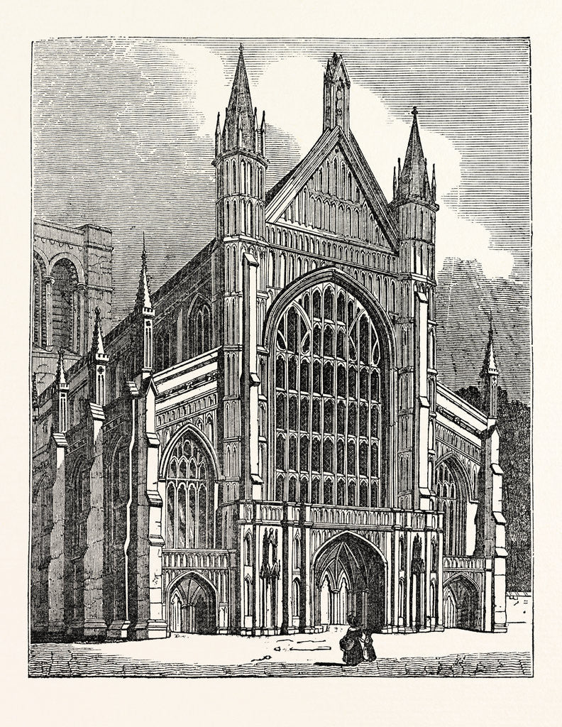 Detail of North-West View of the Cathedral at Winchester by Anonymous