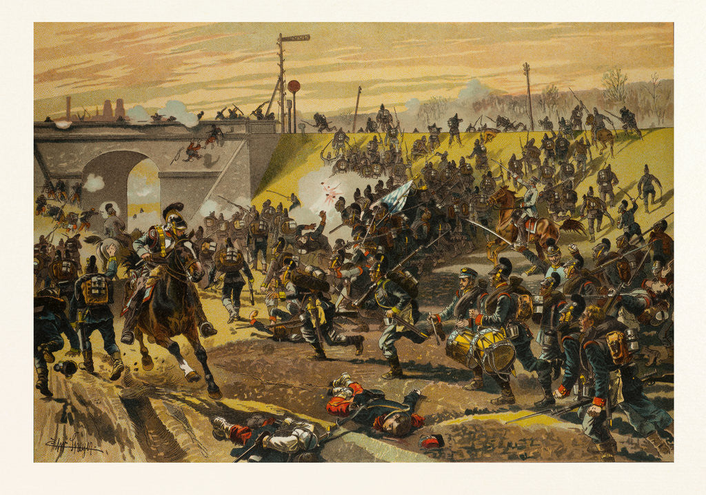 Detail of Assault on the Railway Dam Before Orleans by the First Bavarian Corps on 11 October 1870 by Anonymous