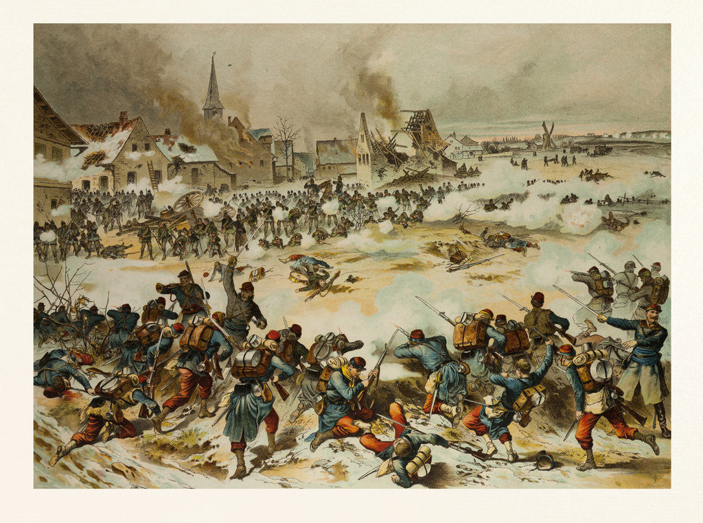 Detail of From the Battle Near Bapaume on the 3rd of January, 1871; Together the 8th Hunter Battalion, the 33rd and 69nth Drive the French Out of Villoy by Anonymous