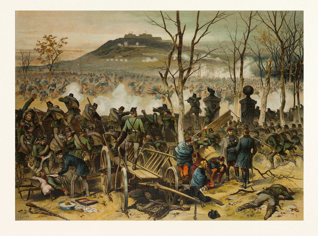 Detail of From the Battle at Mont Valerien on the 19th of January; the First Compagnie of the 5th Battalion of Gorlitzer Hunters Defends La Bergerie by Anonymous
