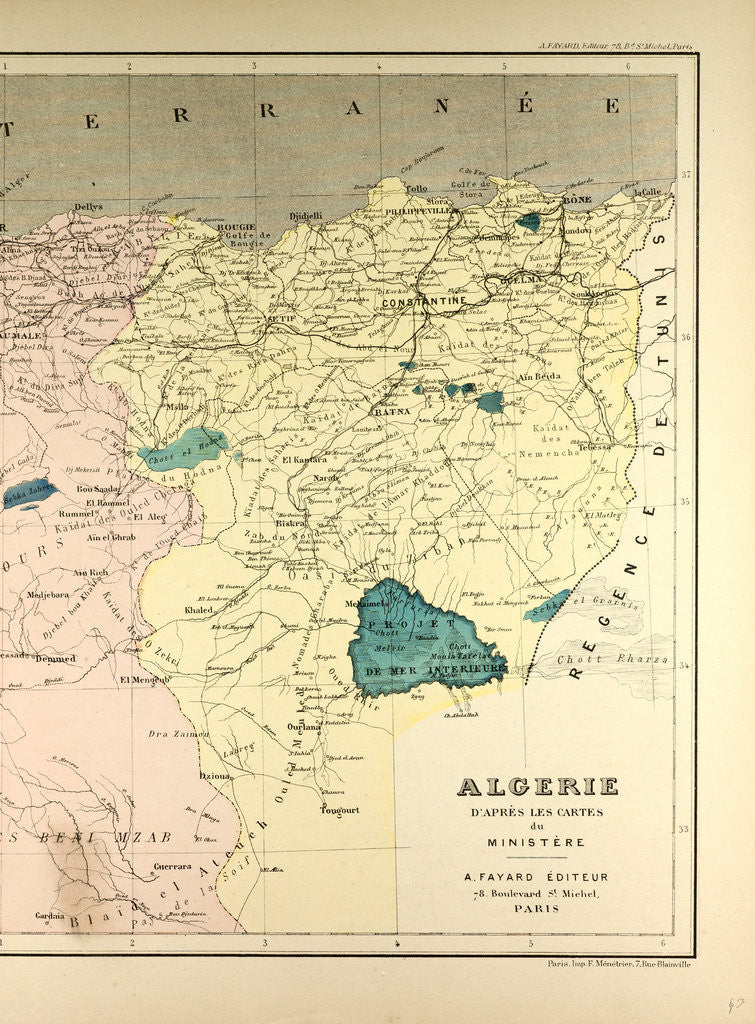 Detail of Map of Algeria by Anonymous