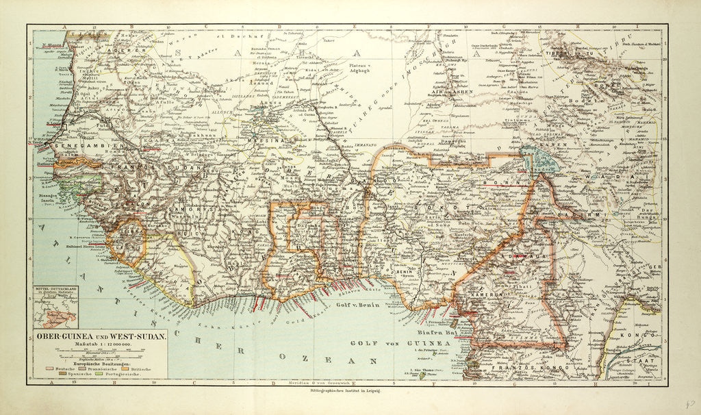 Old Map of South Western Africa posters & prints by Anonymous