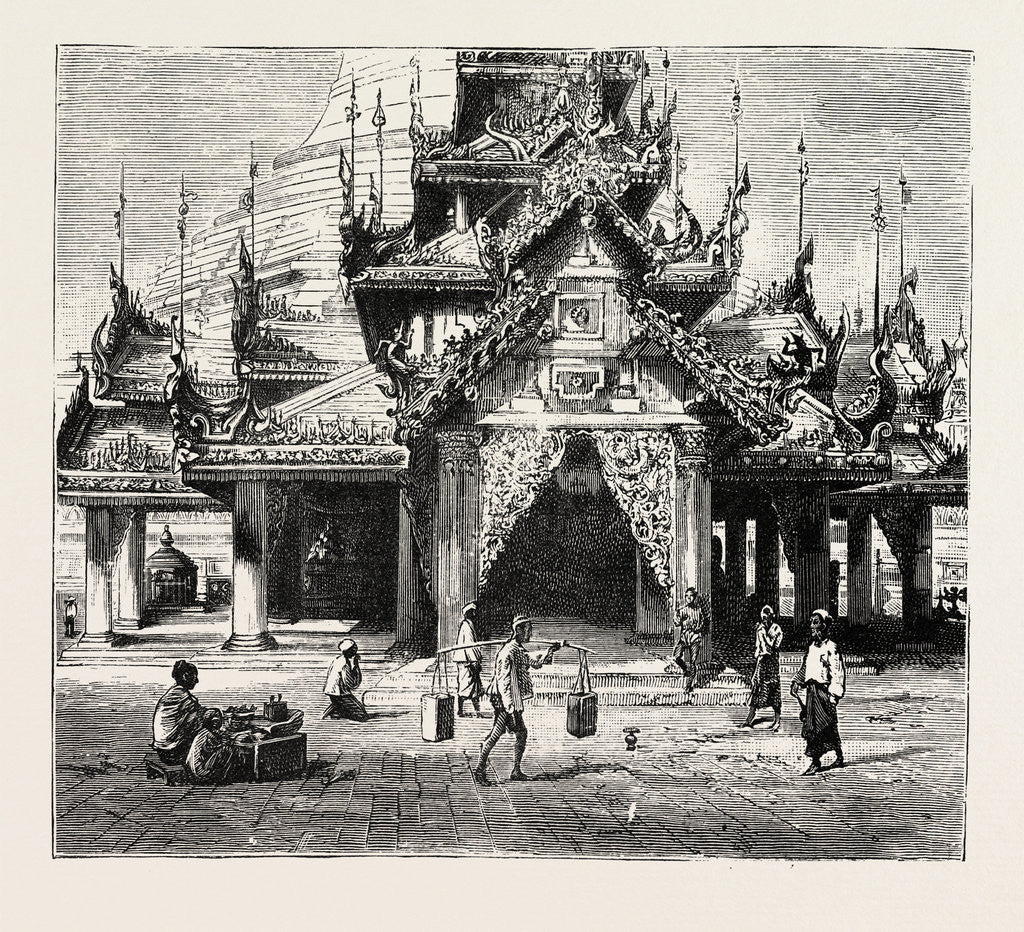 Detail of Entrance to the Shway Dagon Pagoda, Rangoon by Anonymous