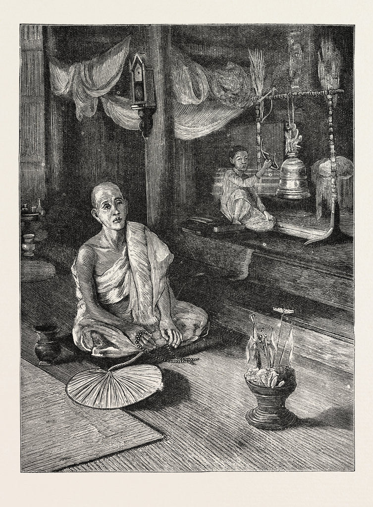 Detail of A Call to Worship (Interior of Buddhist Monastery) by Anonymous