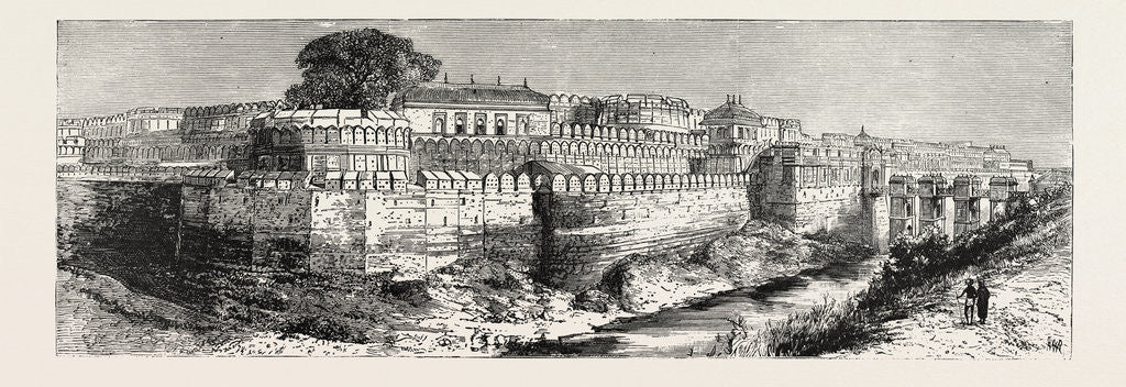 Detail of A View in Bundelkhund, Central India: The Fort at Samptar by Anonymous