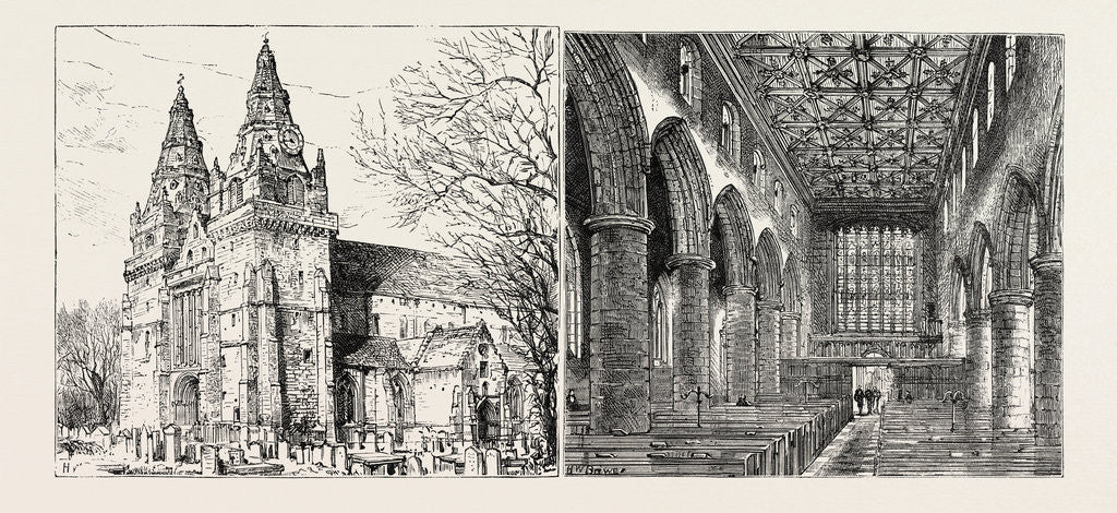 Detail of Aberdeen: Old Machar Cathedral, Exterior; Old Machar Cathedral, Interior. by Anonymous