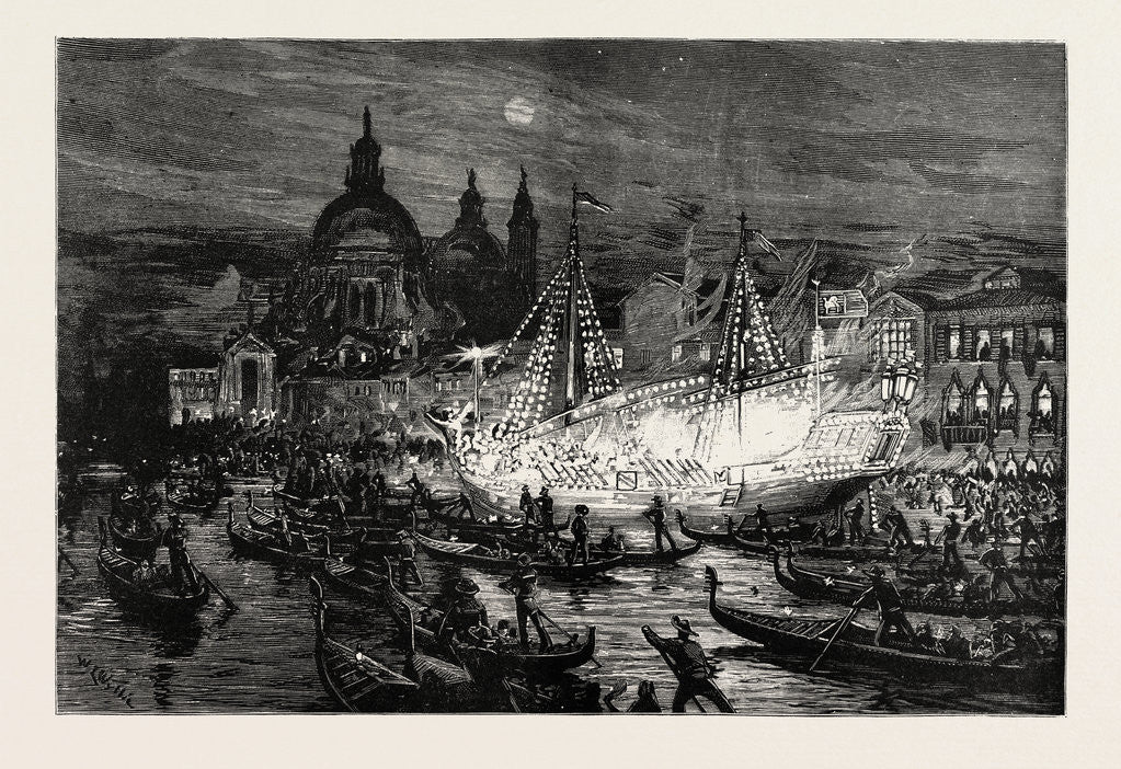 Detail of Illumination of the Grand Canal, Venice, in Honour of the Launch of the New Ironclad, Francesco Morosini by Anonymous