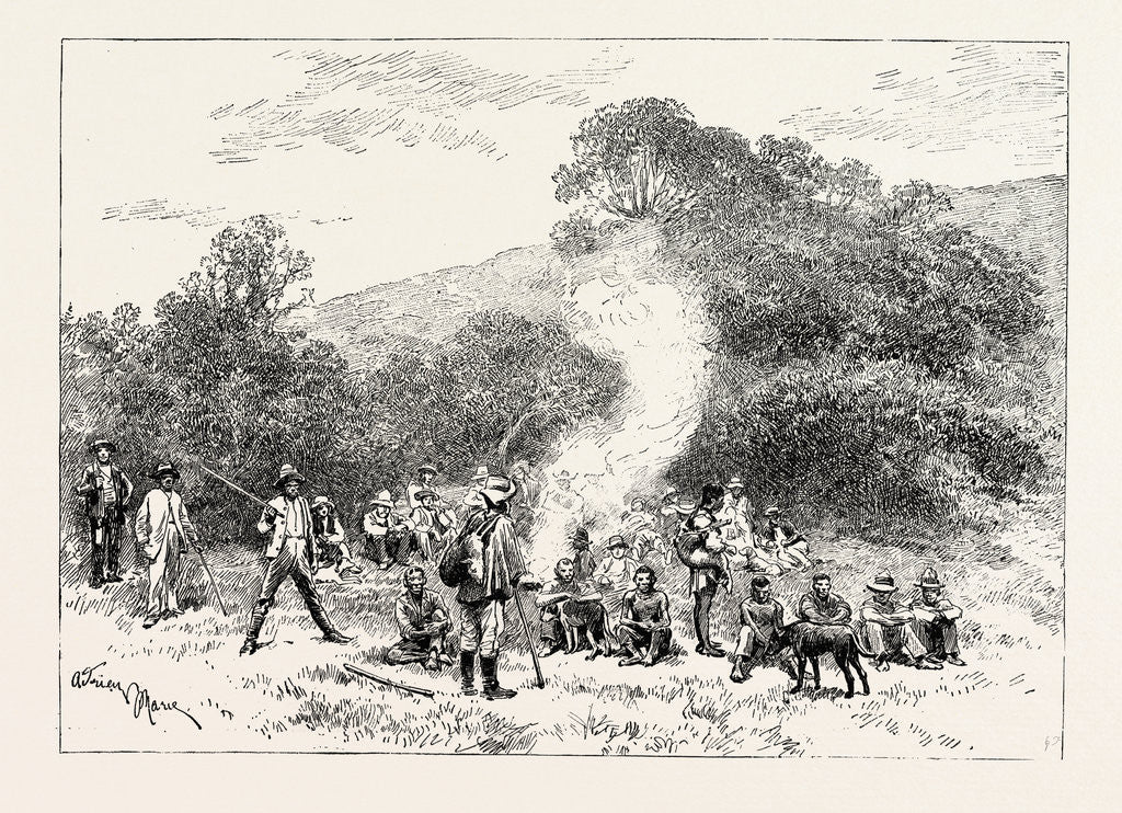 Detail of A Buck-Hunting Excursion in South Africa: A Group of Beaters by Anonymous
