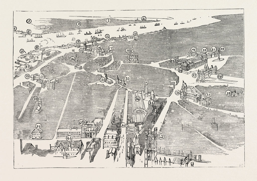 Detail of Bird's Eye View of. Liverpool, 1885 by Anonymous