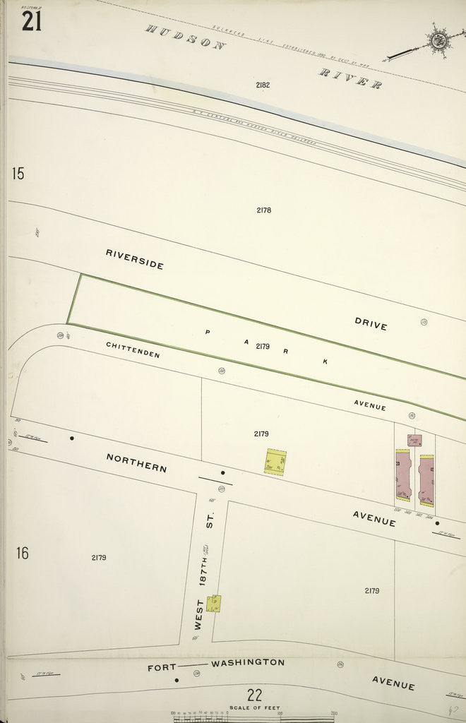 Fort Washington Map.Map Bounded By Hudson River Fort Washington Ave New York Posters