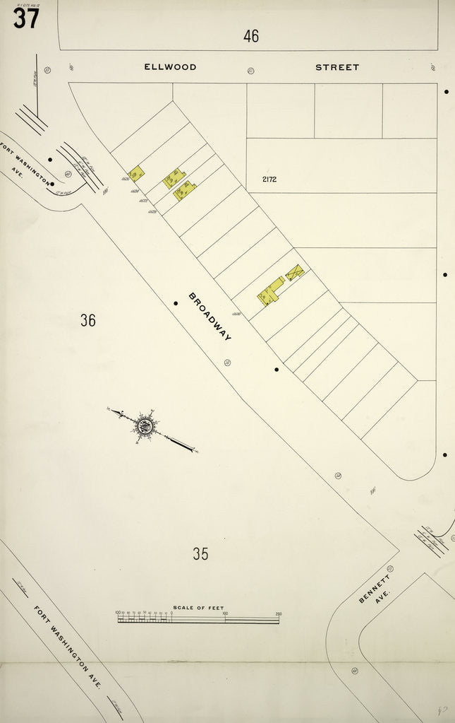 Map Bounded By Ellwood St Nagle Ave Broadway New York Posters
