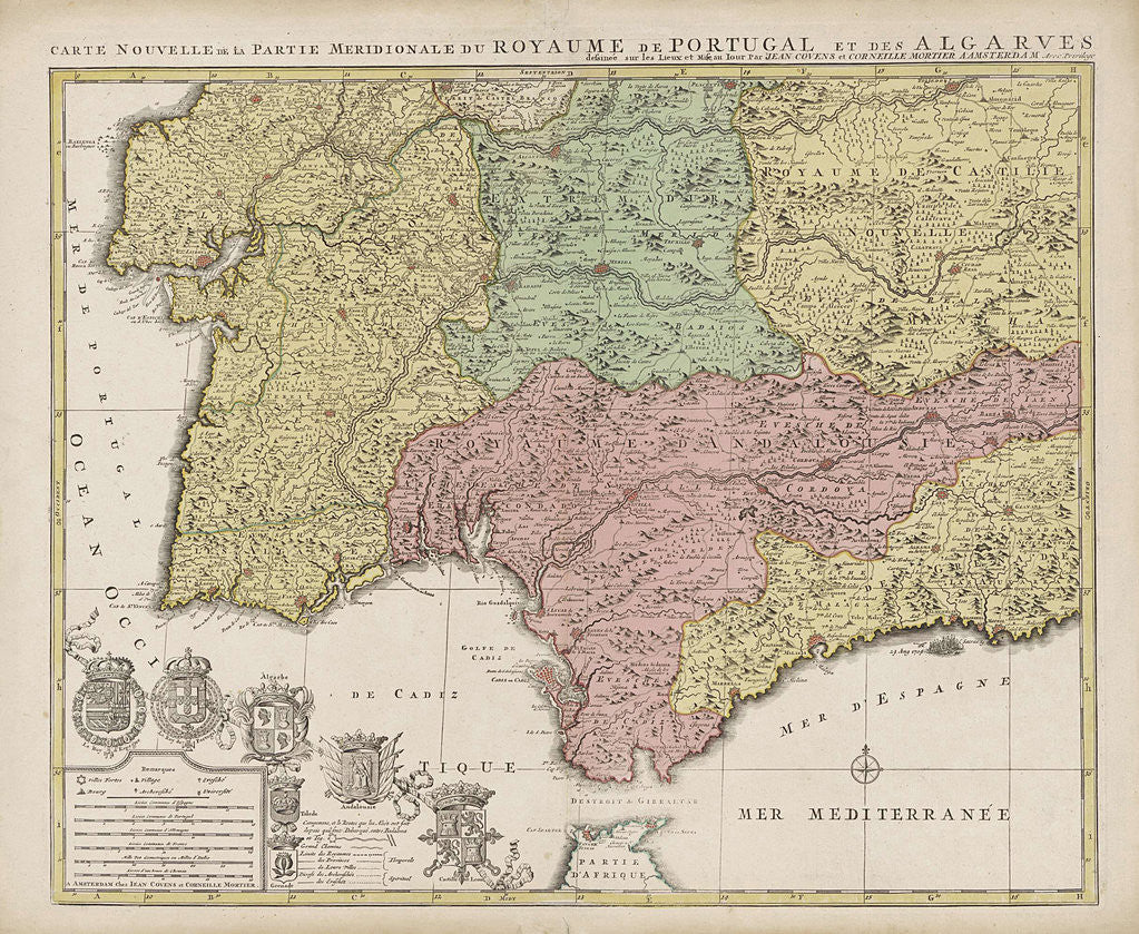 Map Of Southern Spain And Portugal.Map Of The South Of Spain And Portugal Posters Prints By Unknown
