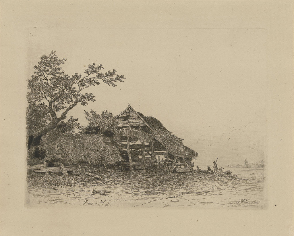 Detail of Landscape with a dilapidated shed by Remigius Adrianus Haanen