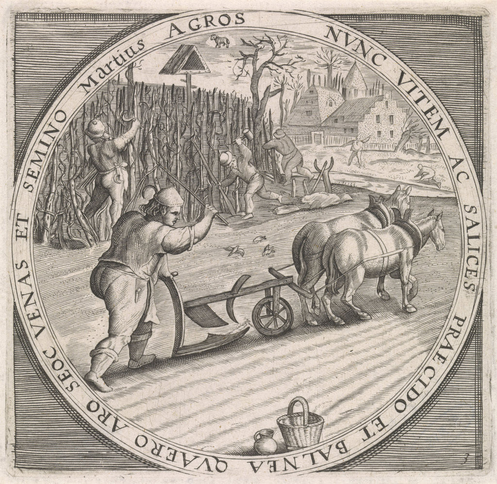 Detail of March: plowing by Maerten de Vos
