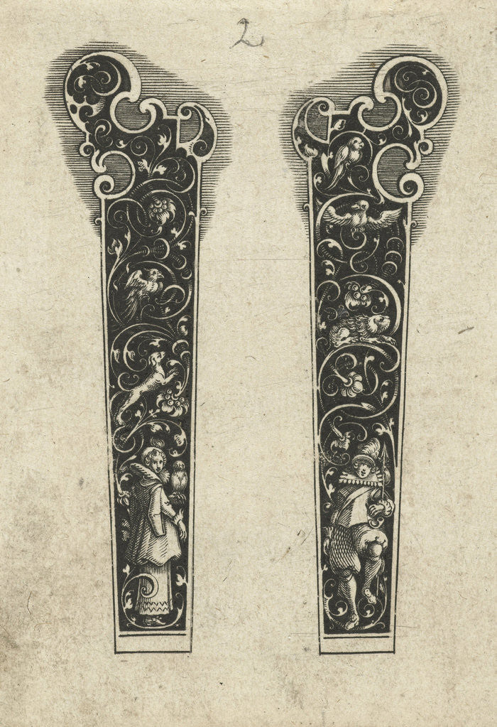 Detail of Two knife handles by Michiel le Blon