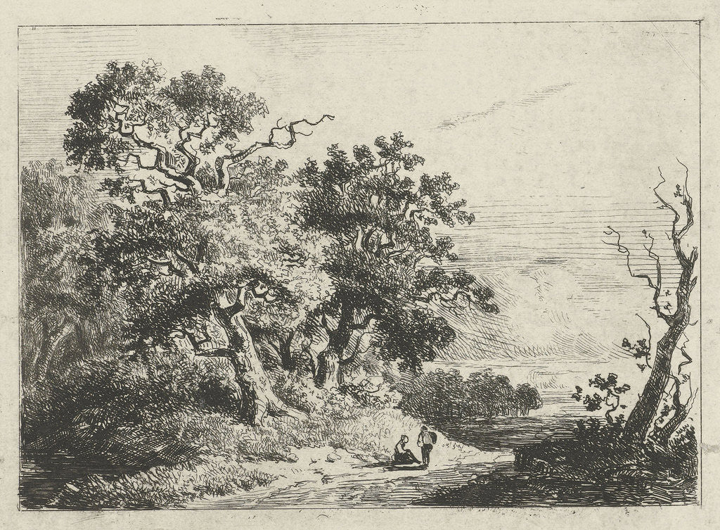 Detail of Landscape with trees and figures by Constantinus Cornelis Huysmans