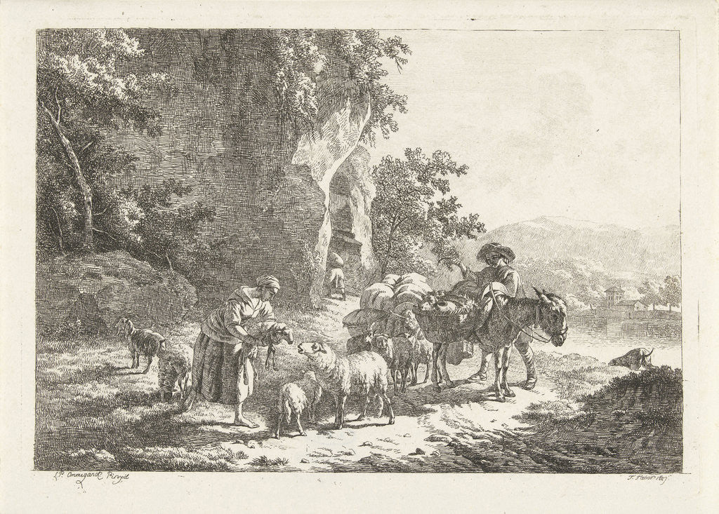 Detail of Shepherds with herd near cave by Frédéric Théodore Faber