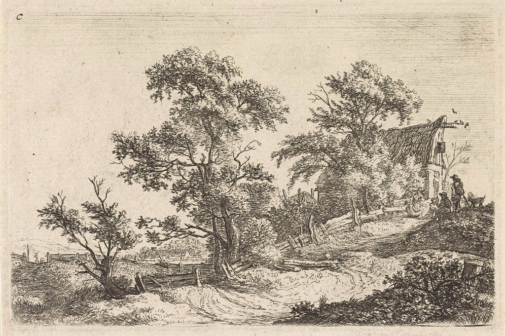 Detail of House on a path on a hill by Anthonie Waterloo