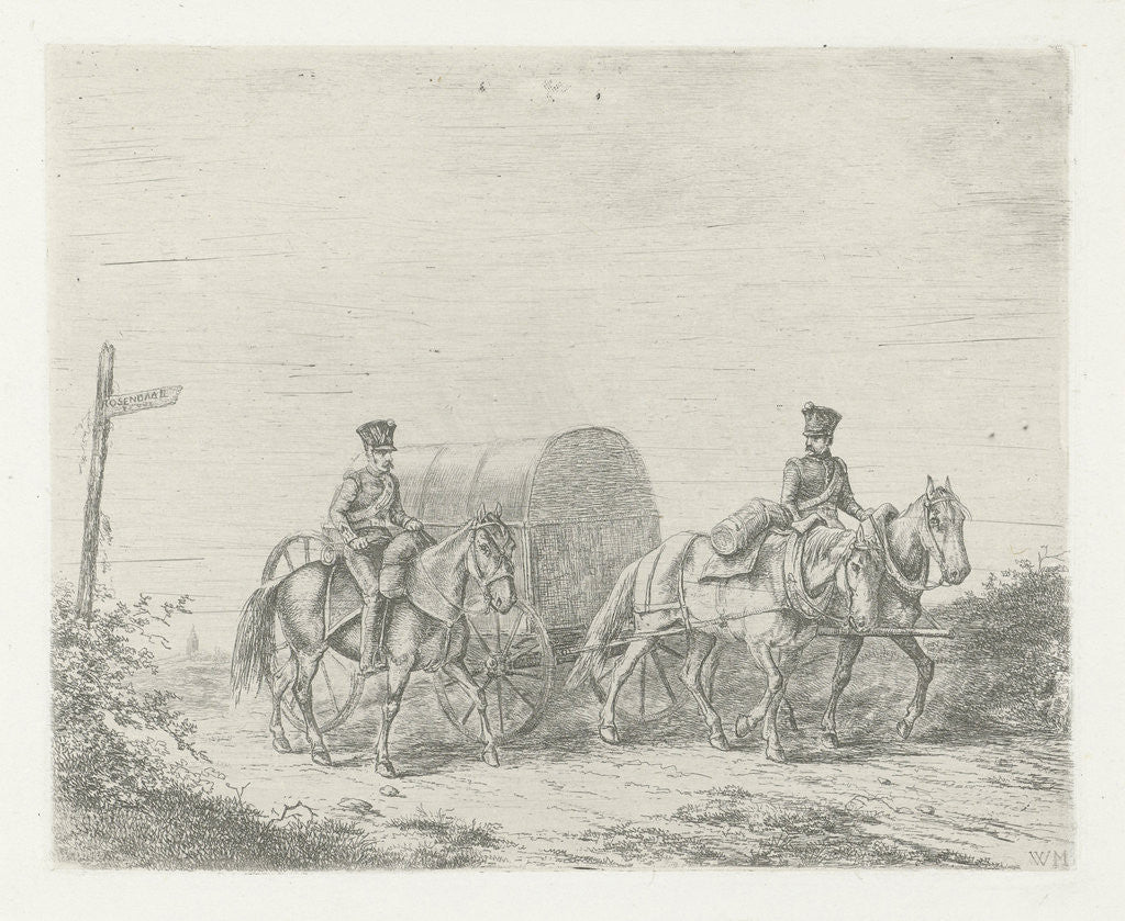 Detail of Two soldiers on horseback on the road by Christiaan Wilhelmus Moorrees