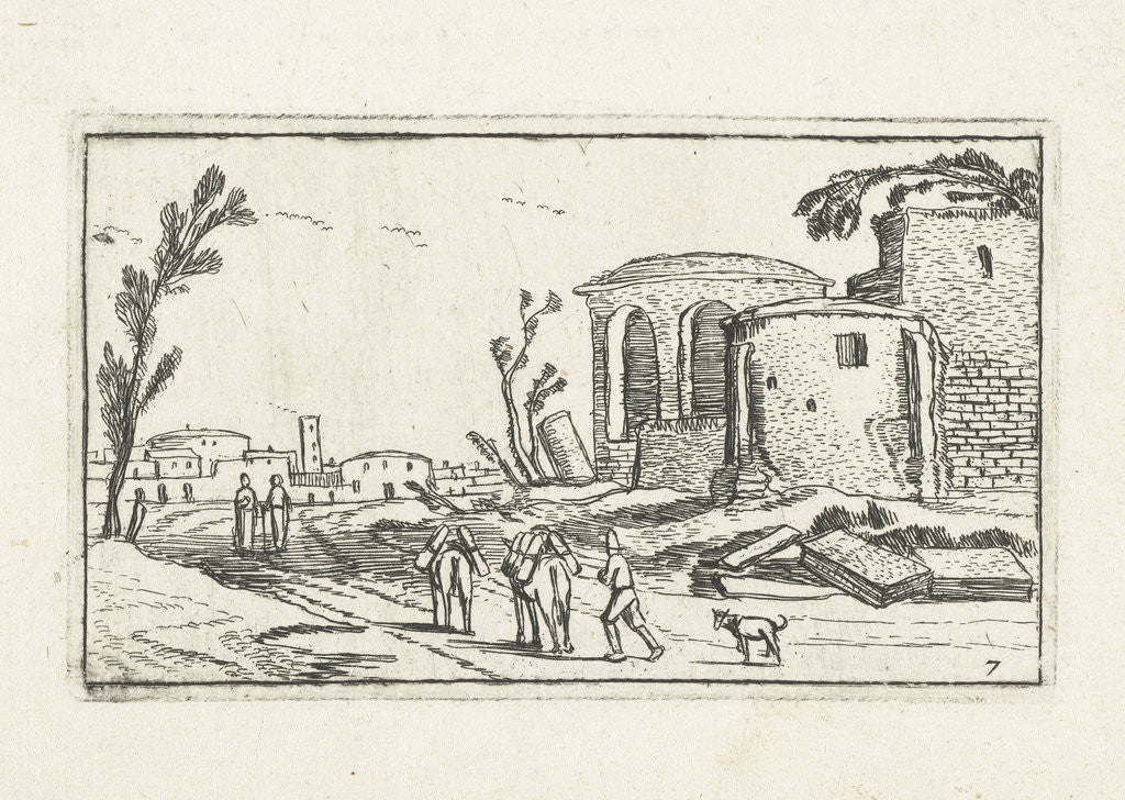 Detail of Landscape with Ruins by Johannes Pietersz. Berendrecht