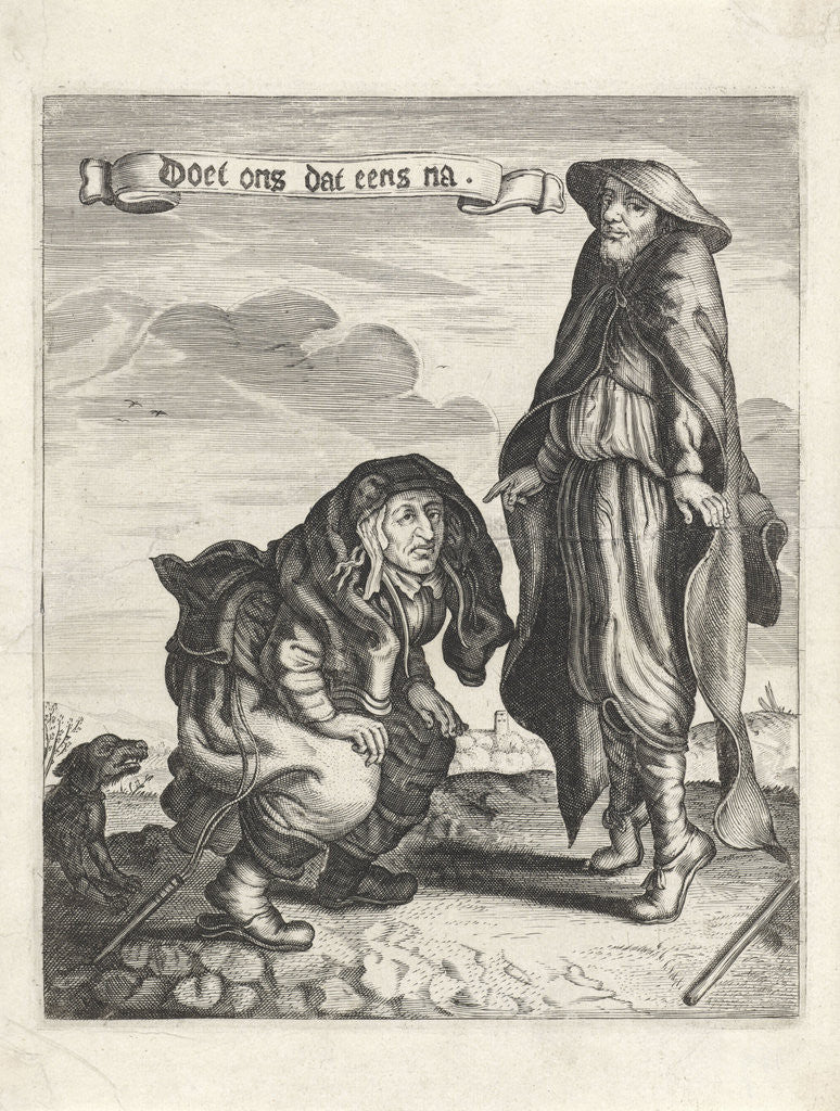 Detail of Beggars Couple with squatting woman and man on his toes by Anonymous