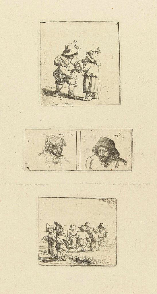 Detail of Musicerende children and two pivotal studies by Marie Lambertine Coclers
