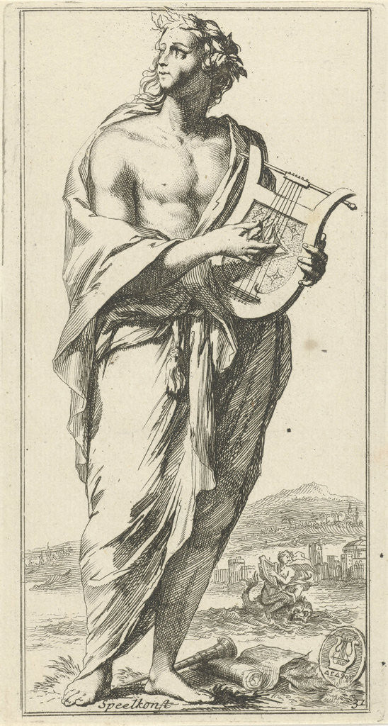 Detail of Personification of music by Arnold Houbraken