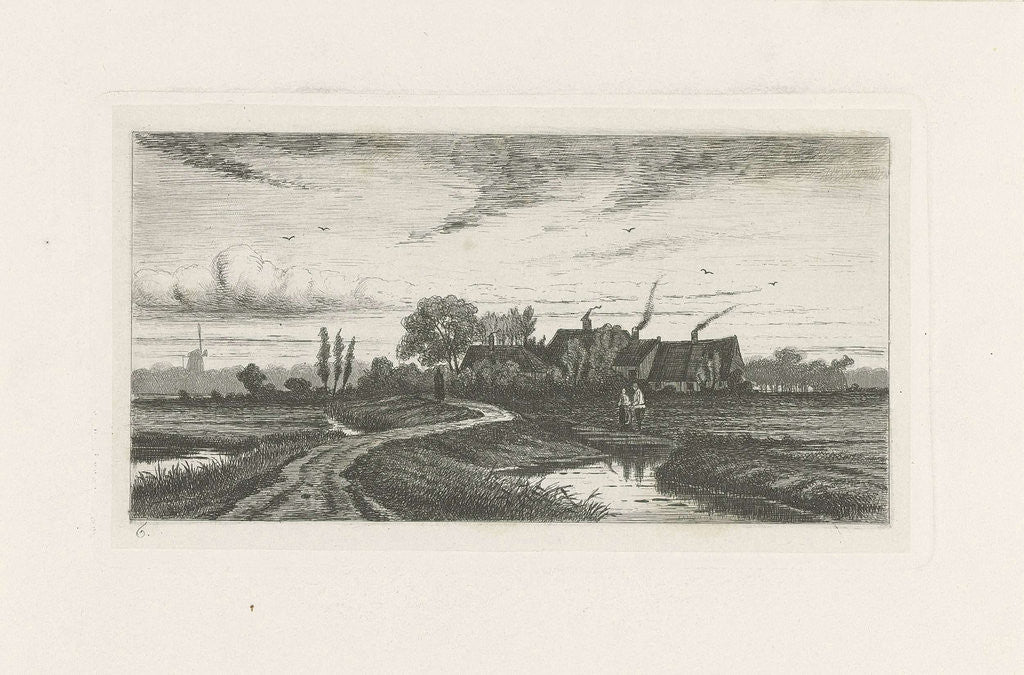 Detail of Landscape with farms by Jan van Lokhorst