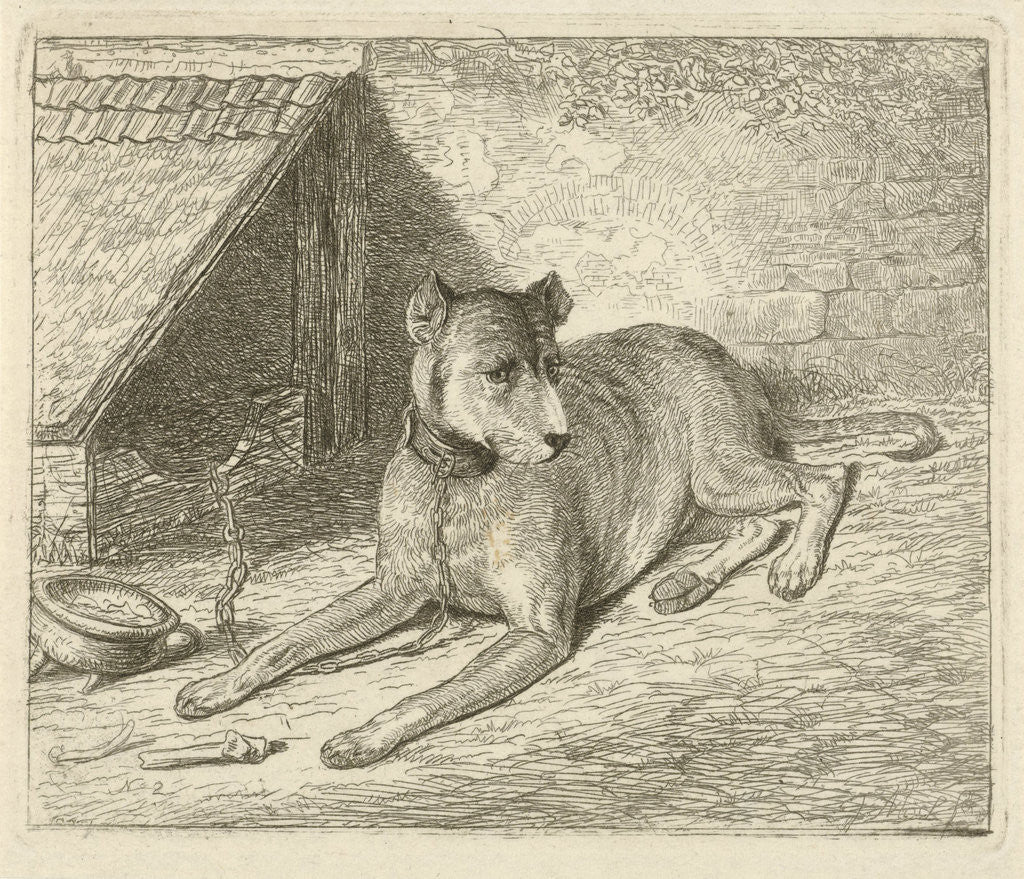 Detail of Dog on a chain in a doghouse, For him a bone, Bottom left numbered 2 by Johannes Mock