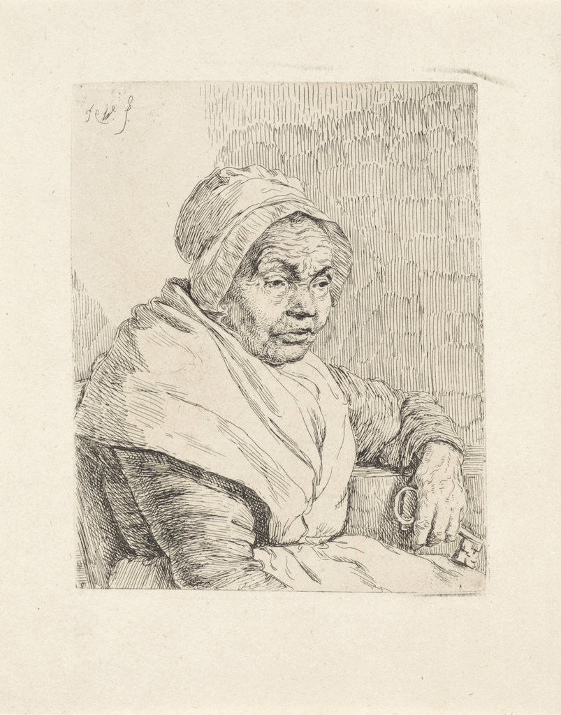 Detail of Portrait of an old woman by Pieter Christoffel Wonder