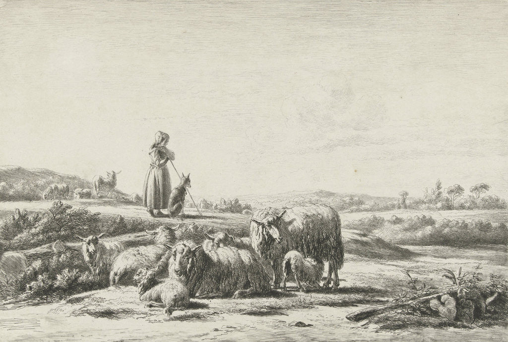 Detail of Landscape with shepherd dog with sheep herd by Simon van den Berg