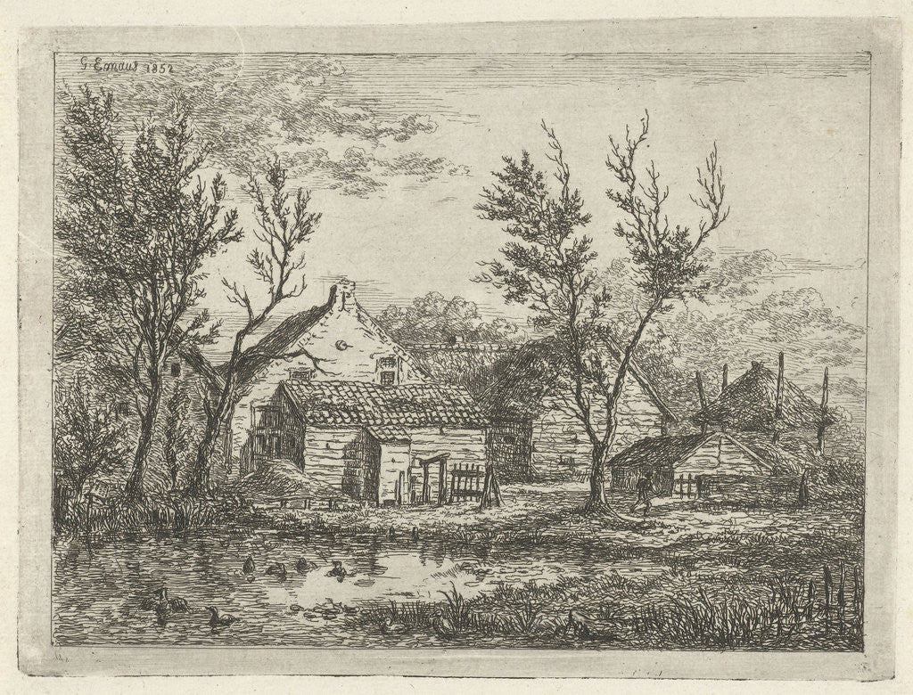 Detail of On a farm with several buildings and a haystack, a person walks near a tree, a pond with ducks by Gerardus Emaus de Micault