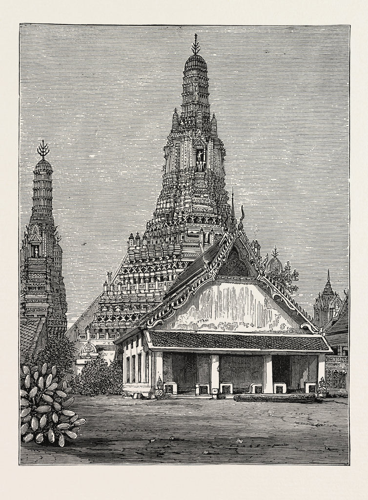 Detail of A Buddhist Wat, or Temple, at Bangkok, Siam by Anonymous